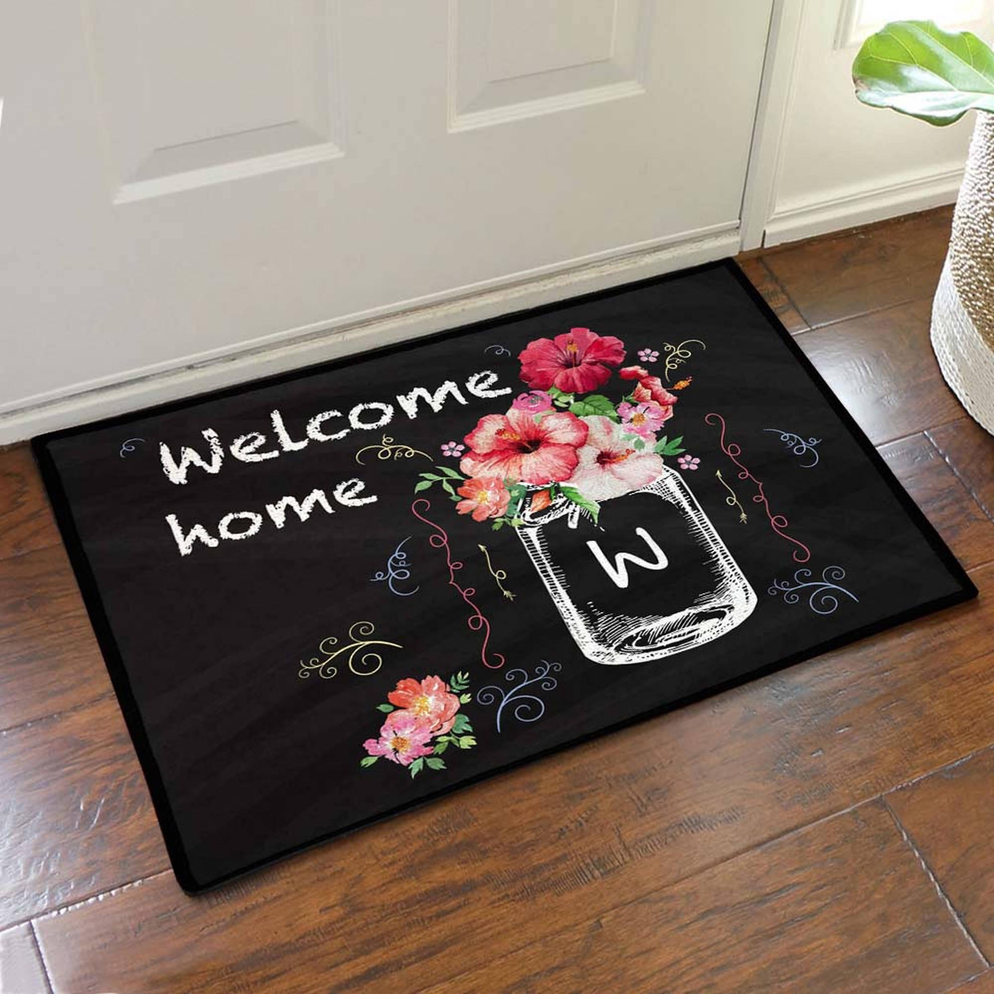 """Custom Hibiscus Bouquet Welcome Home Doormat, 19.5"""" x 15.5"""""""