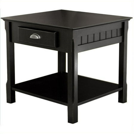Winsome Wood Timber End Table with Drawer, Black Finish 2 Drawer Wood Finish Table