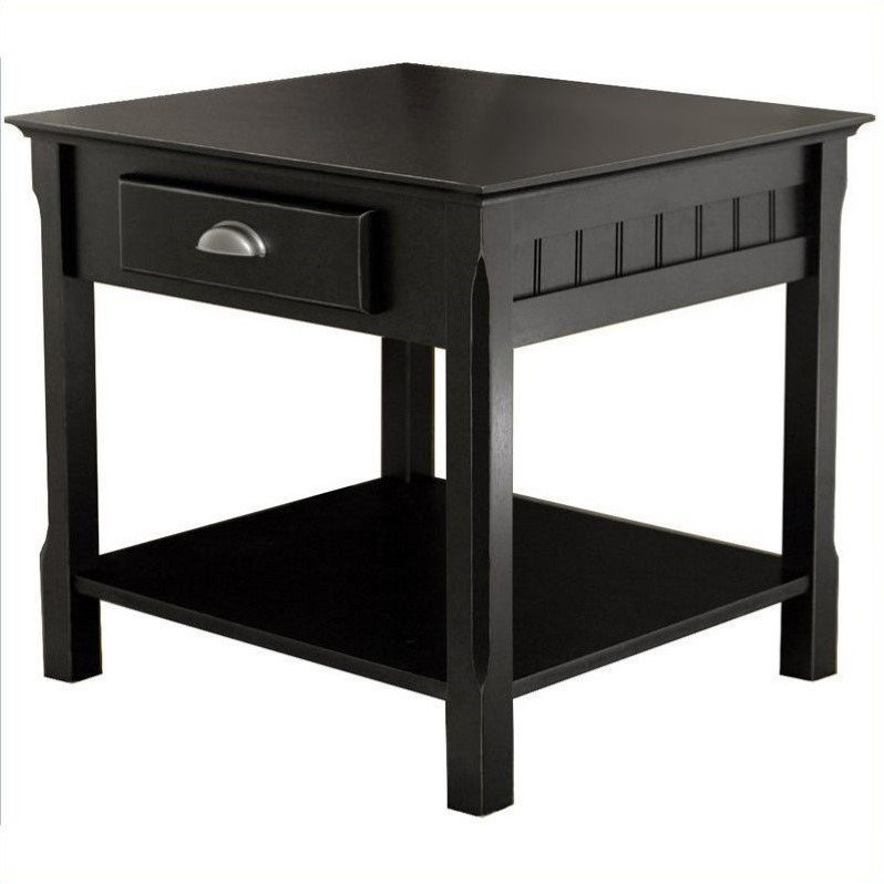 Charmant Winsome Wood Timber End Table With Drawer, Black Finish