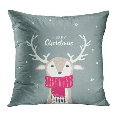 ECCOT Red Character Merry Christmas Cute Dear Wearing Winter Scarf Warm Deer Fun Accessory Pillowcase Pillow Cover Cushion Case 18x18 inch