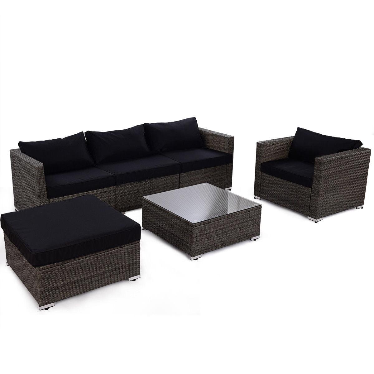 Gymax Outdoors 6pc Patio Set Rattan Wicker Furniture W Black Cushion