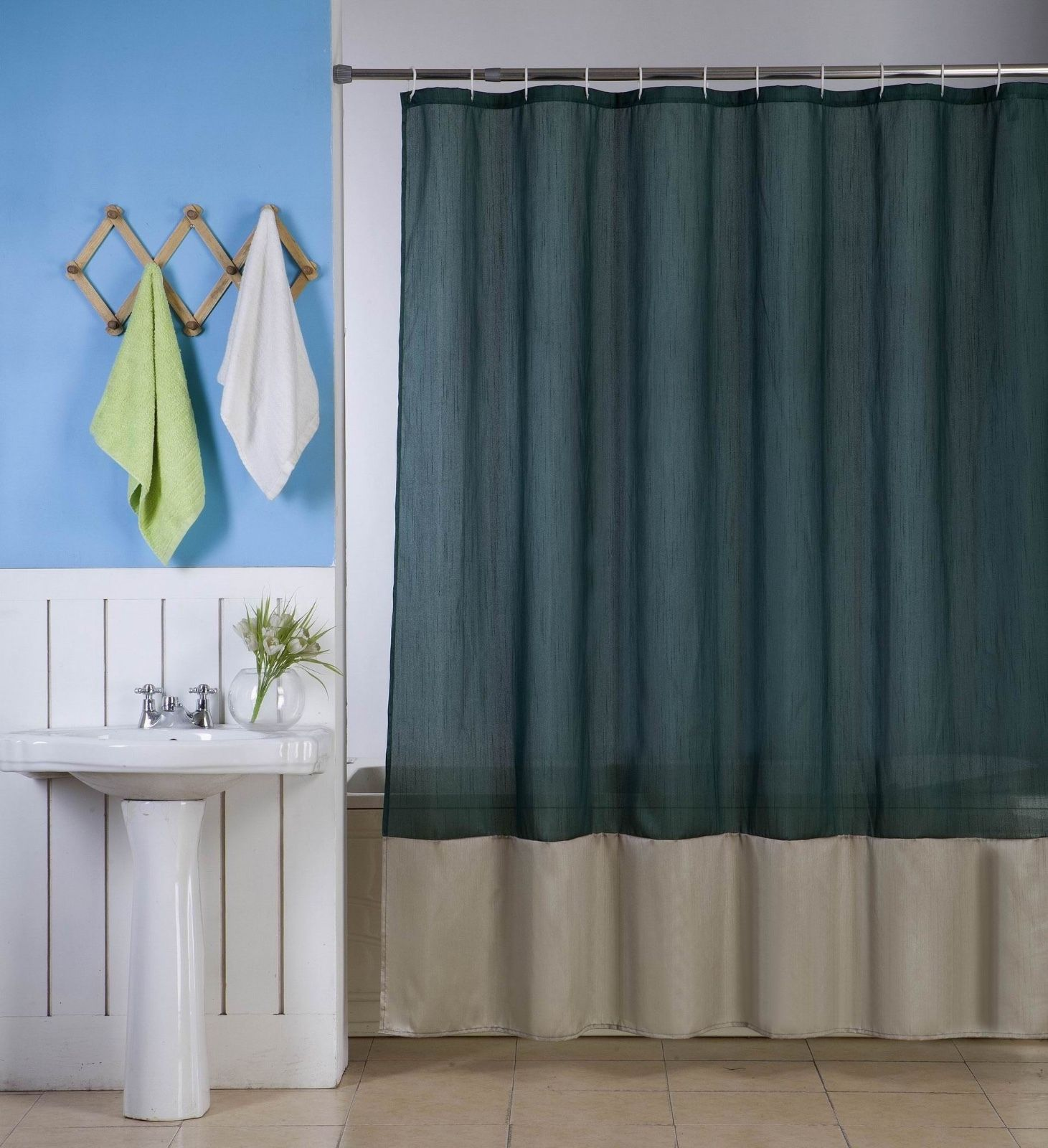 "1PC (H10) HUNTER GREEN WHITE FAUX SILK 2 SHADES SOLID BATHROOM  BATH FABRIC SHOWER CURTAIN  WATER REPELLENT 72"" X72"""