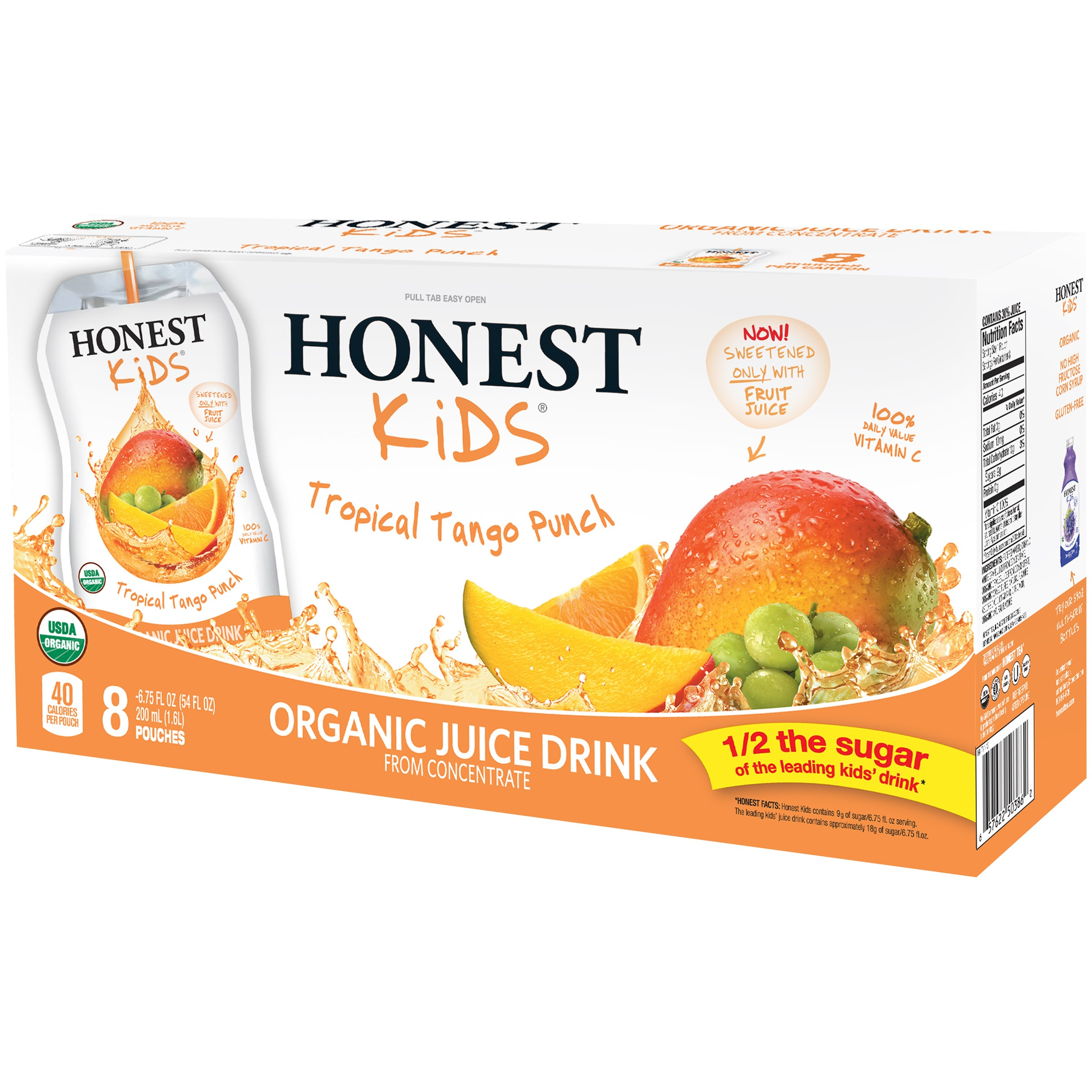 Honest Kids Organic Juice, Tropical Tango Punch, 6.75 Fl Oz 8 Ct