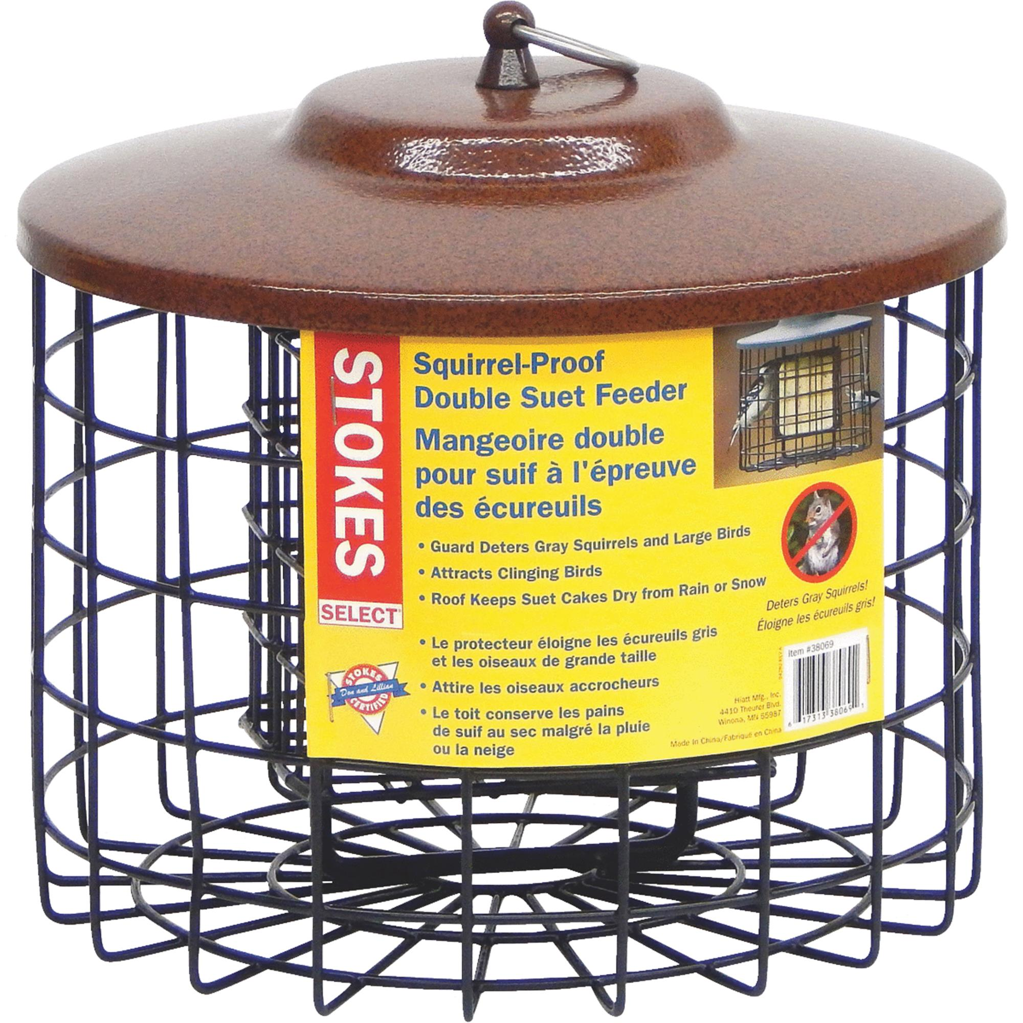 Stokes Select Squirrel Proof Suet Bird Feeder, Two Suet Cakes Capacity, Black/Brown