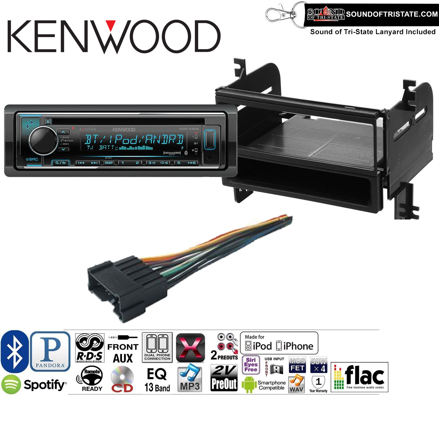 Kenwood KDCX302 Double Din Radio Install Kit with Bluetooth, CD Player, USB/AUX Fits 2005-2008 Hyundai Tucson and a SOTS lanyard included