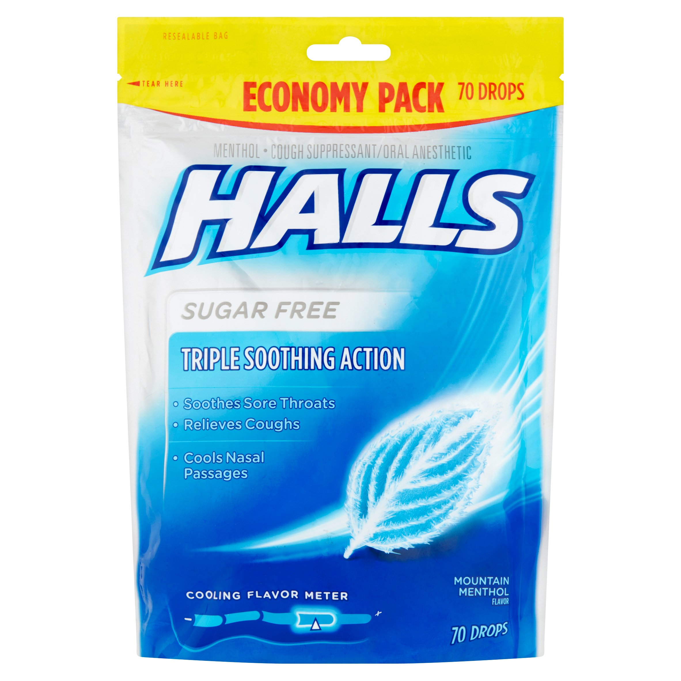 Halls Cough Drops, Mountain Menthol, 70 Ct