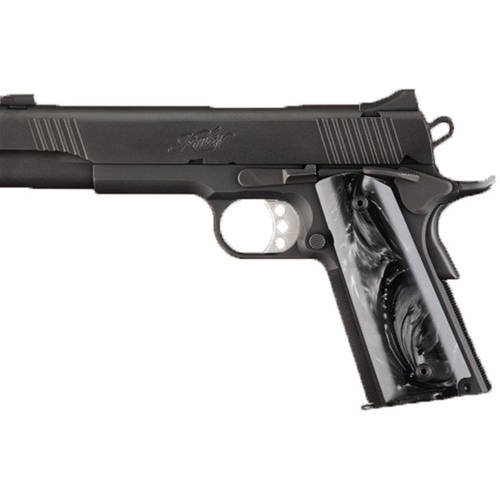 Hogue Grips Grip, Fits Colt Government, Polymer Ambidextrous Safety Cut, Black Pearlized