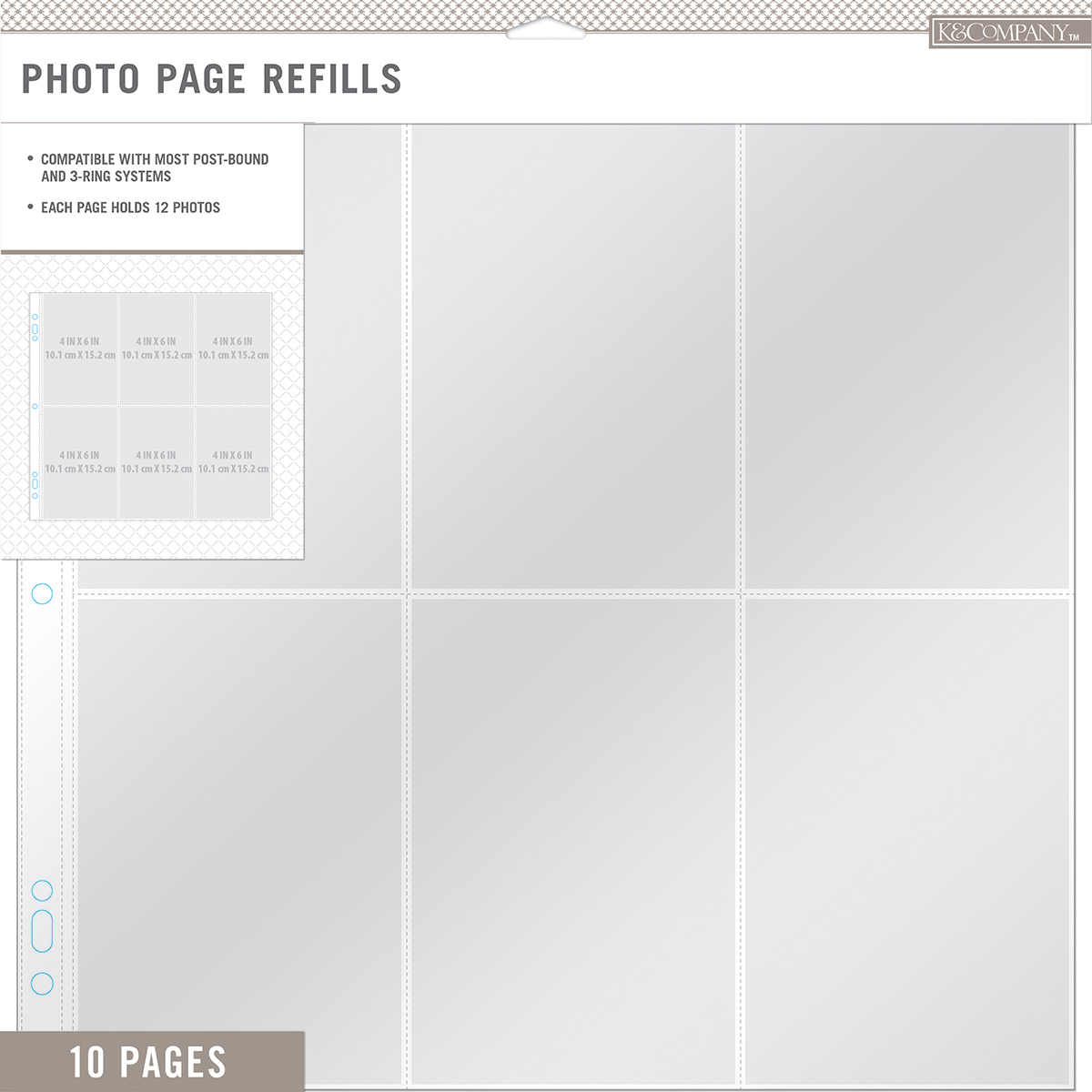 "K&Company Photo Page Refills 12""X12"" 10/Pkg-(6) 4""X6"" Pockets 30706682"