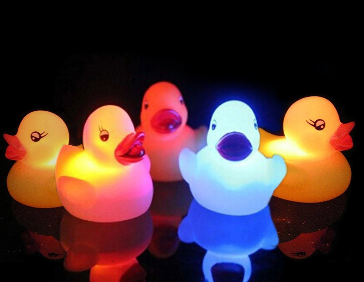 Pack of 5 Light-Up Rubber Duckies - Illuminating Color ...