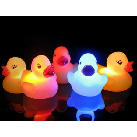 Pack of 5 Light-Up Rubber Duckies - Illuminating Color Changing Rubber (Graduate Rubber Duck)