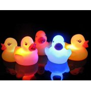 Pack of 5 Light-Up Rubber Duckies - Illuminating Color Changing Rubber Ducks