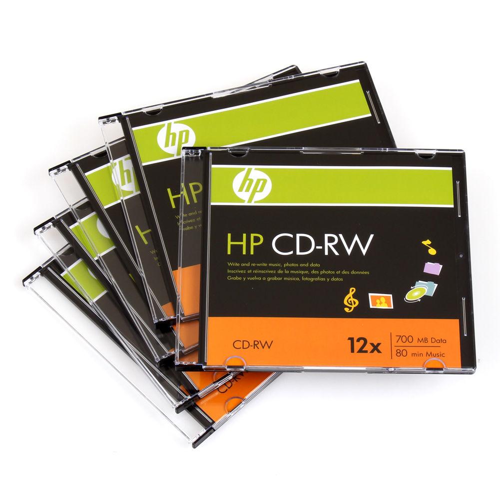 5 HP Brand 12X Logo Top CD-RW CDRW ReWritable Blank Disc Media Slim Jewel Case
