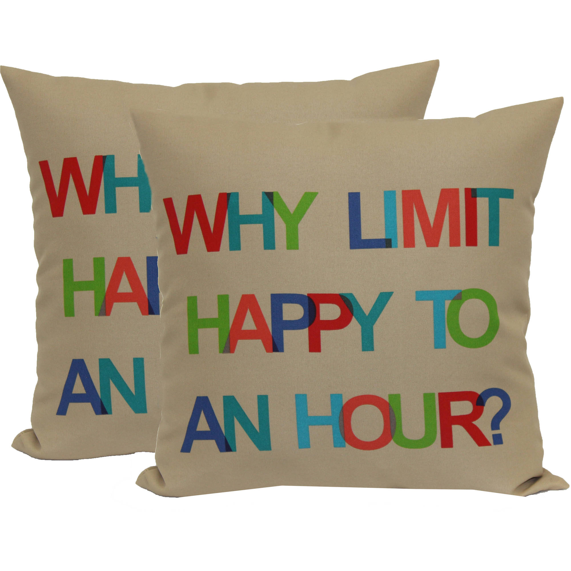 Mainstays Happy Hour Toss Pillow, 2-Pack