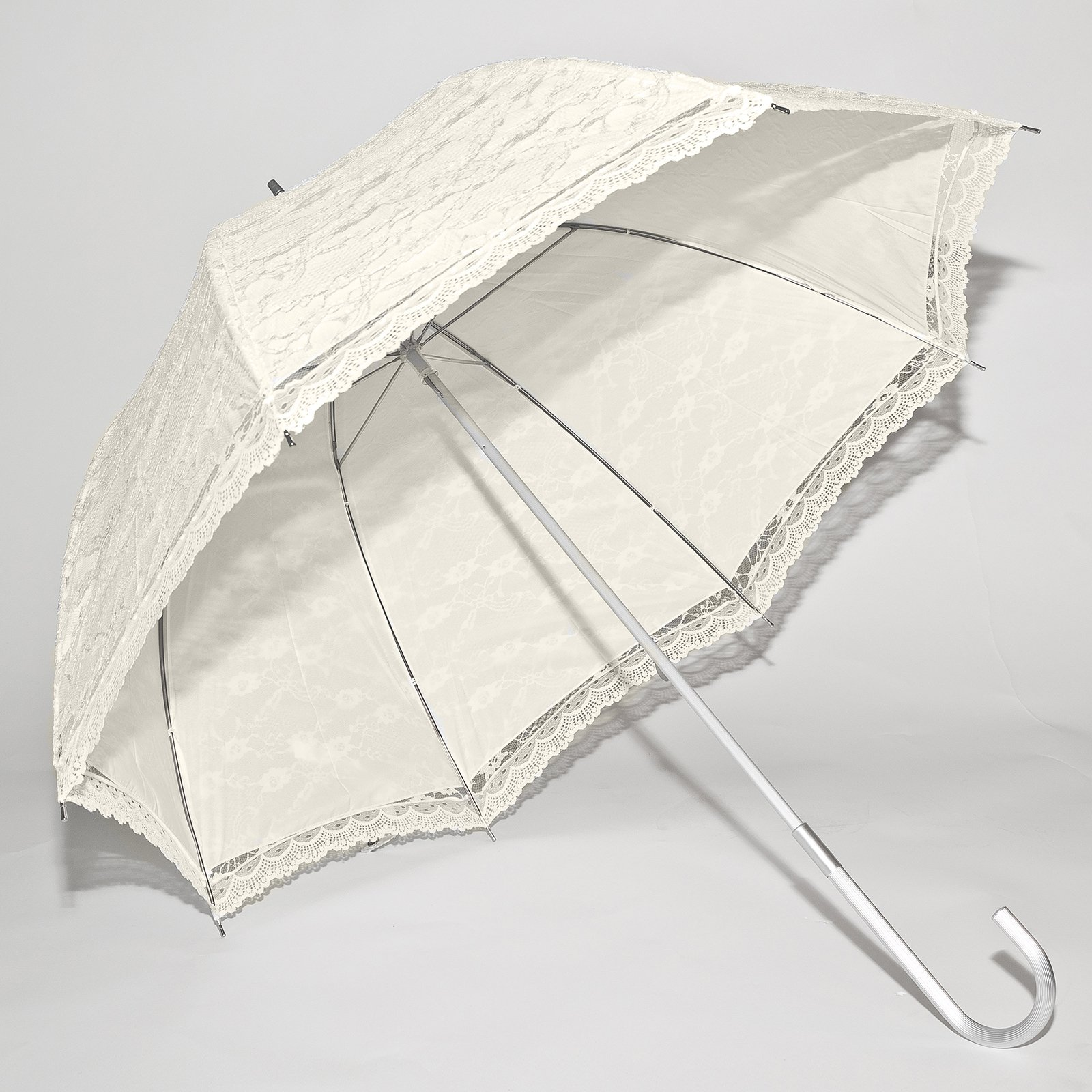 Elite Rain Wedding Umbrella - Ivory Lace Canopy