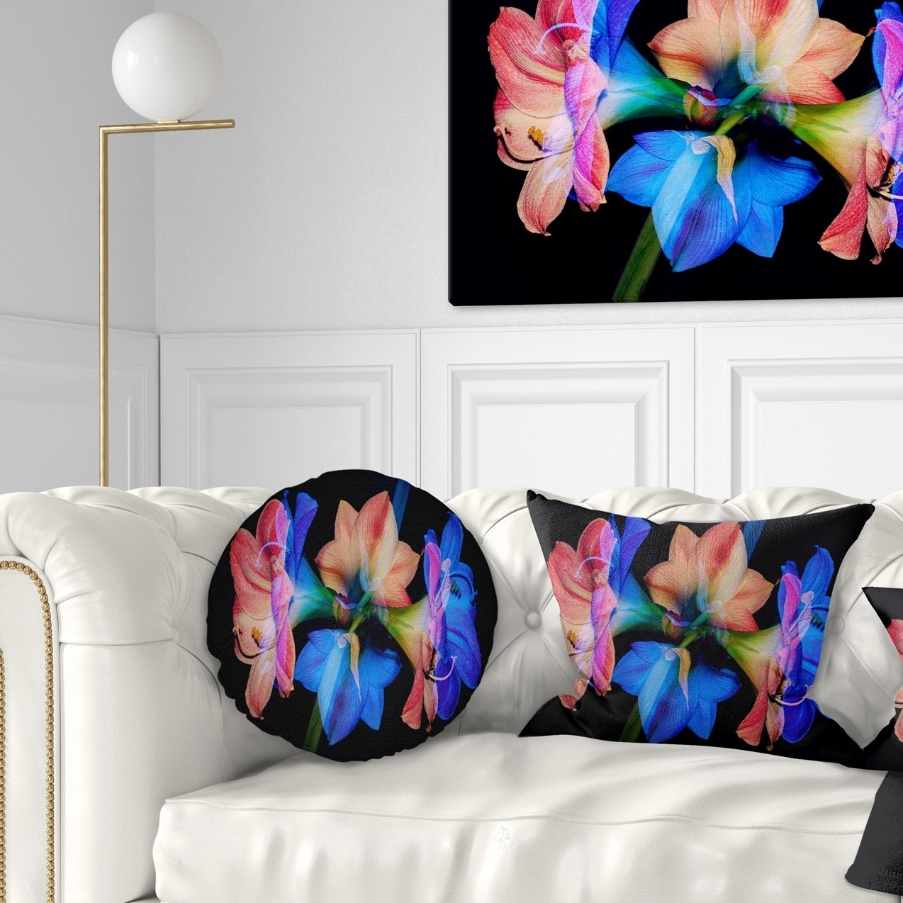 Sofa Throw Pillow 20 Designart CU15016-20-20-C Abstract Blue Red Flower on Black Floral Round Cushion Cover for Living Room