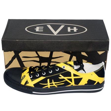 d315f602b5de13 FEAMERCH - Van Halen EVH Black Striped Yellow Low Top Sneaker Shoes ...