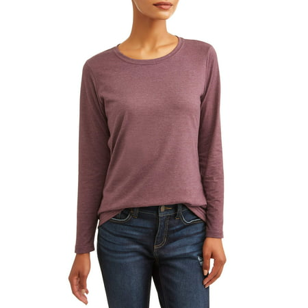 881af697 Time and Tru - Women's Long Sleeve Crewneck T-Shirt - Walmart.com