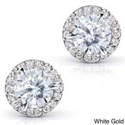 Annello  by Kobelli 14k Gold 1 1/4ct TGW Round 6.5MM Moissanite (H-I) and Diamond Halo Traditional Stud Earrings Yellow