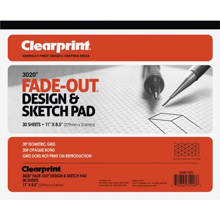 Clearprint, CLE932811ISO, Isometric Grid Paper Pad - Letter, 30 / Pad