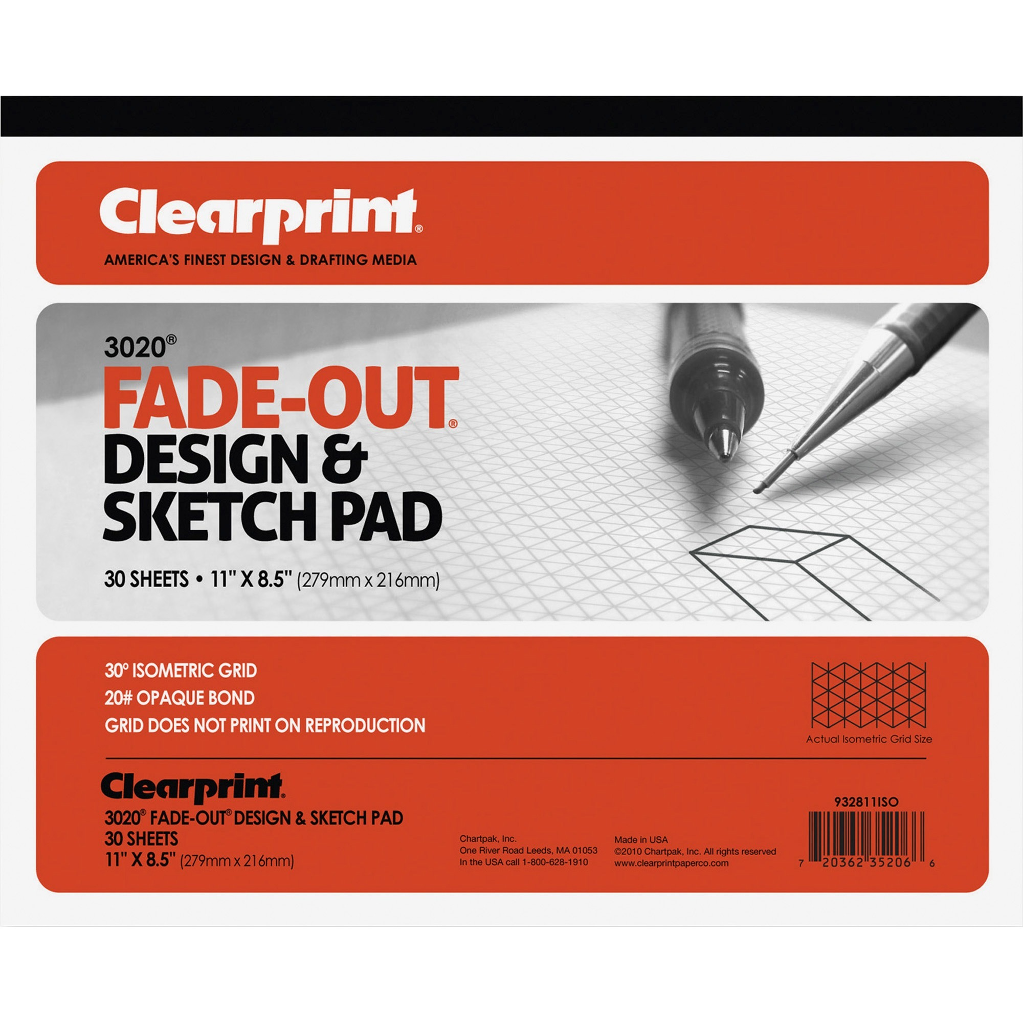 Clearprint, CLE932811ISO, Isometric Grid Paper Pad - Letter, 1 / Each