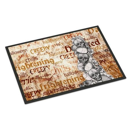 Creepy, Haunted and Frightful with skulls Halloween18x27 Doormat for $<!---->