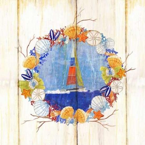 Coastal Sailboat Wreath Poster Print by Mary Escobedo