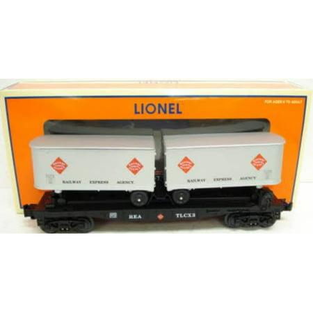 Lionel Flat Car (Lionel 6-26366 Railway Express Agency REA flat car w/ 2 removeable trailers 027 )