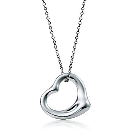 Italian Sterling Silver Open Heart Pendant Chain Necklace