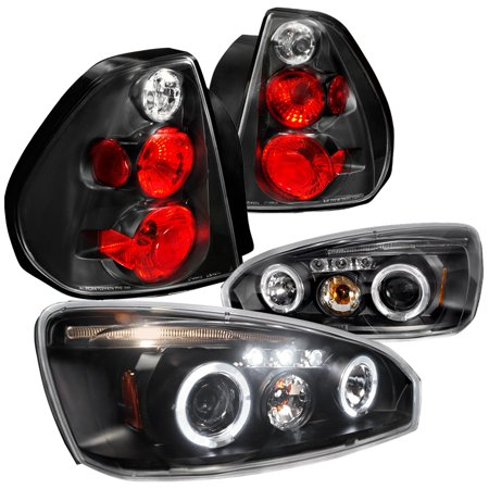 Spec D Tuning 2004 2007 Chevy Malibu Black Clear Halo Led Projector Headlights Rear Tail Brake Lamps Left Right 2005 2006