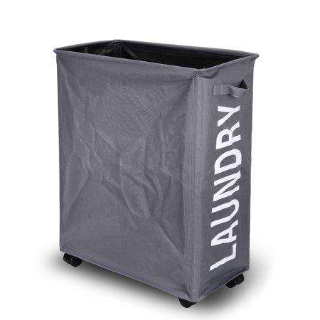 danya b collapsible waterproof folding laundry hamper on wheels grey. Black Bedroom Furniture Sets. Home Design Ideas