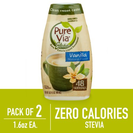(2 Pack) Pure Via Stevia Sweetener Vanilla Simple Squeeze Coffee Sweetener Zero Calorie Sweetener, 1.62 fl oz (Xylitol Sweet)