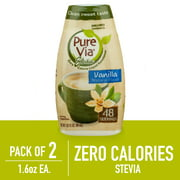 (2 Pack) Pure Via Stevia Sweetener Vanilla Simple Squeeze Coffee Sweetener Zero Calorie Sweetener, 1.62 fl oz