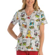 Hangin' Out Women's Printed V-Neck Scrub Top