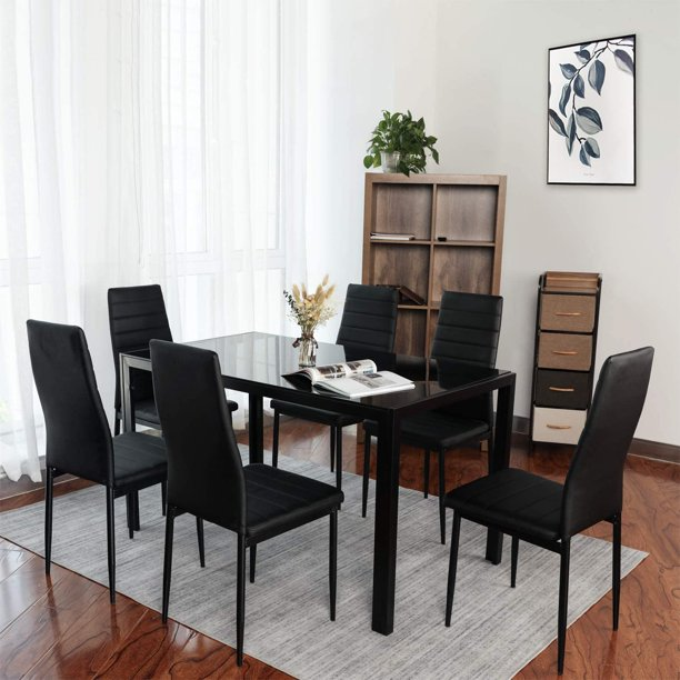 Glass Top Dining Table Set 7 Piece, Glass Top Dining Room Table