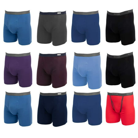 Fruit of the Loom (12 Pack Mens Underwear Cotton Boxer Briefs with Fly Soft Comfortable Tag (12 Mens Boxer Briefs)