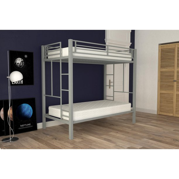 Yourzone Twin Over Metal Bunk Bed With 2 Mattresses Silver Walmart Com
