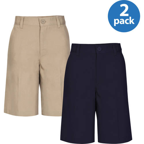 REAL SCHOOL Boys Flat Front Shorts School Uniform Approved 2-Pack Value Bundle
