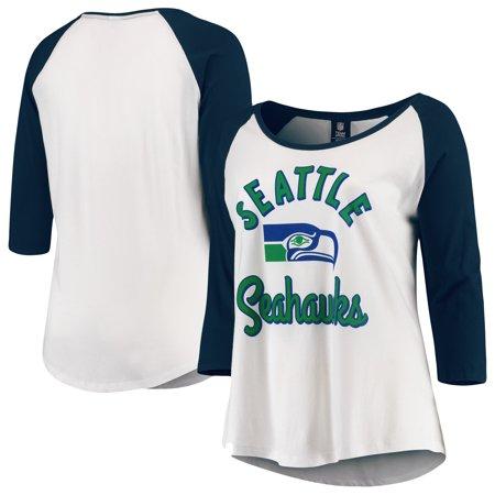 63e008a8 Seattle Seahawks 5th & Ocean by New Era Women's Plus Size 3/4-Sleeve Raglan  T-Shirt - White/College Navy - Walmart.com