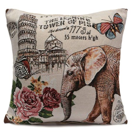 - Square Pillow Cases Cotton Linen Rose Tower Butterfly Elephant 18