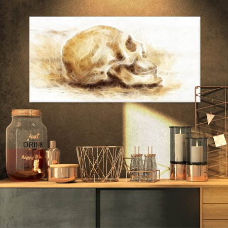 Skull on Paper Fractal Effect - Contemporary Canvas Art Print - image 3 de 3