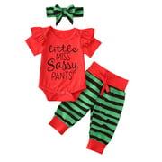 Musuos Baby Girl Set Ruffle Bodysuit Tops Striped Short Pants With Headband