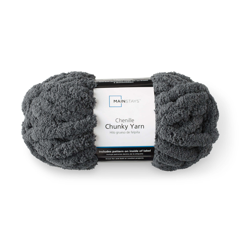 Mainstays Chunky Chenille Yarn, Soft Silver, 31 7 yards