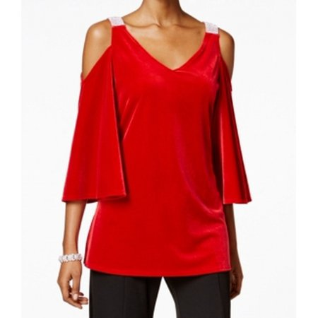 MSK Women's Embellished Velvet Cold-Shoulder Top