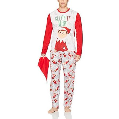 Elf on the Shelf Men's Family Sleep 2-Piece Set Or Footie with Hat, Men Red, Size: S (Elf On The Shelf Adult)