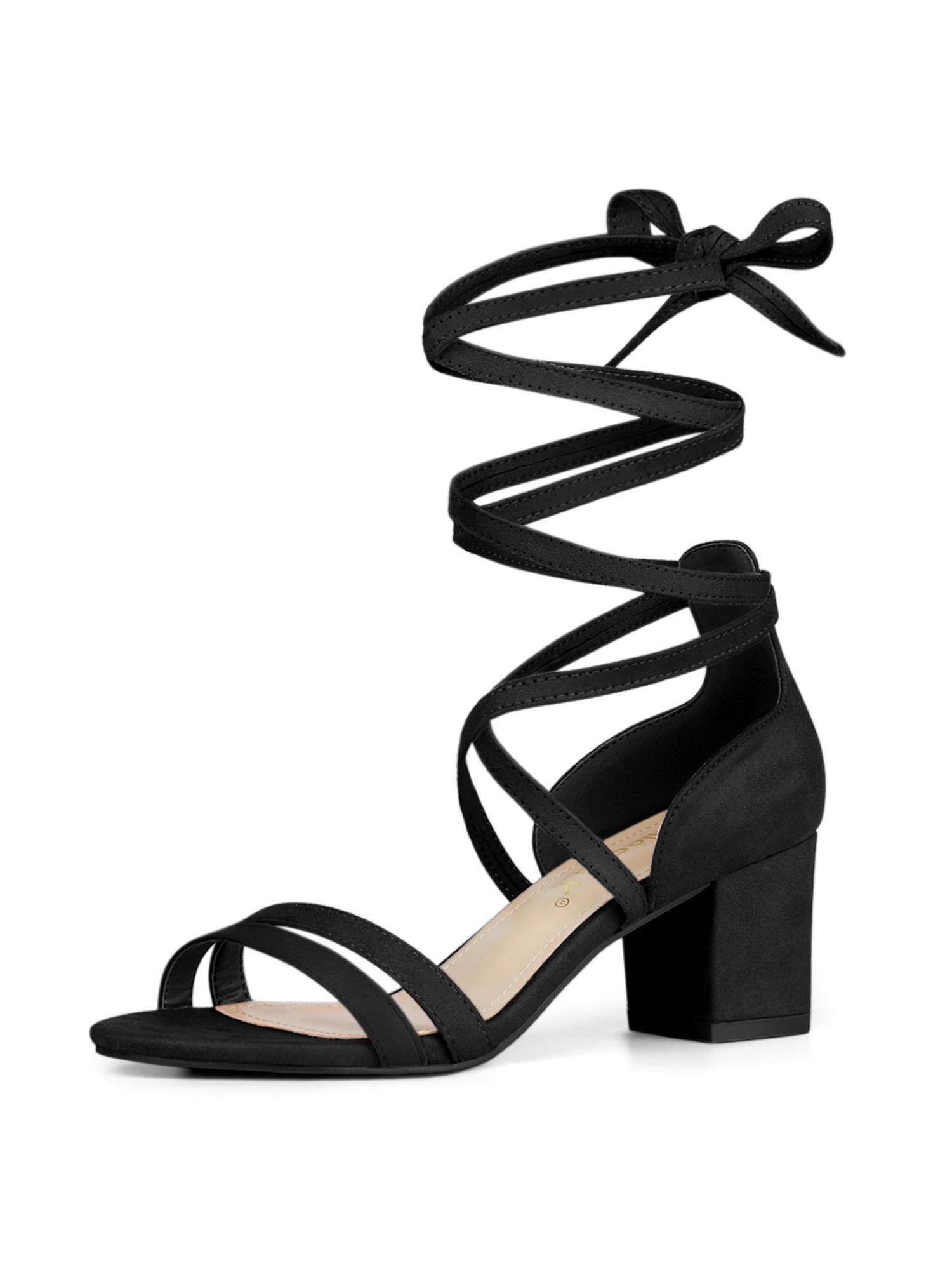 Color Block Heel Sandals Black