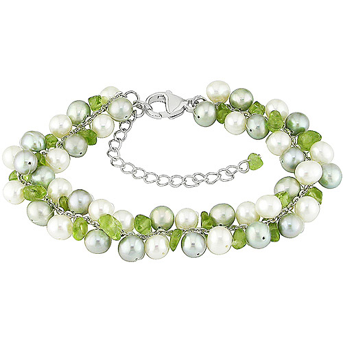 5-6mm Cultured Freshwater Potato Pearls and Peridot Sterling Silver Bracelet