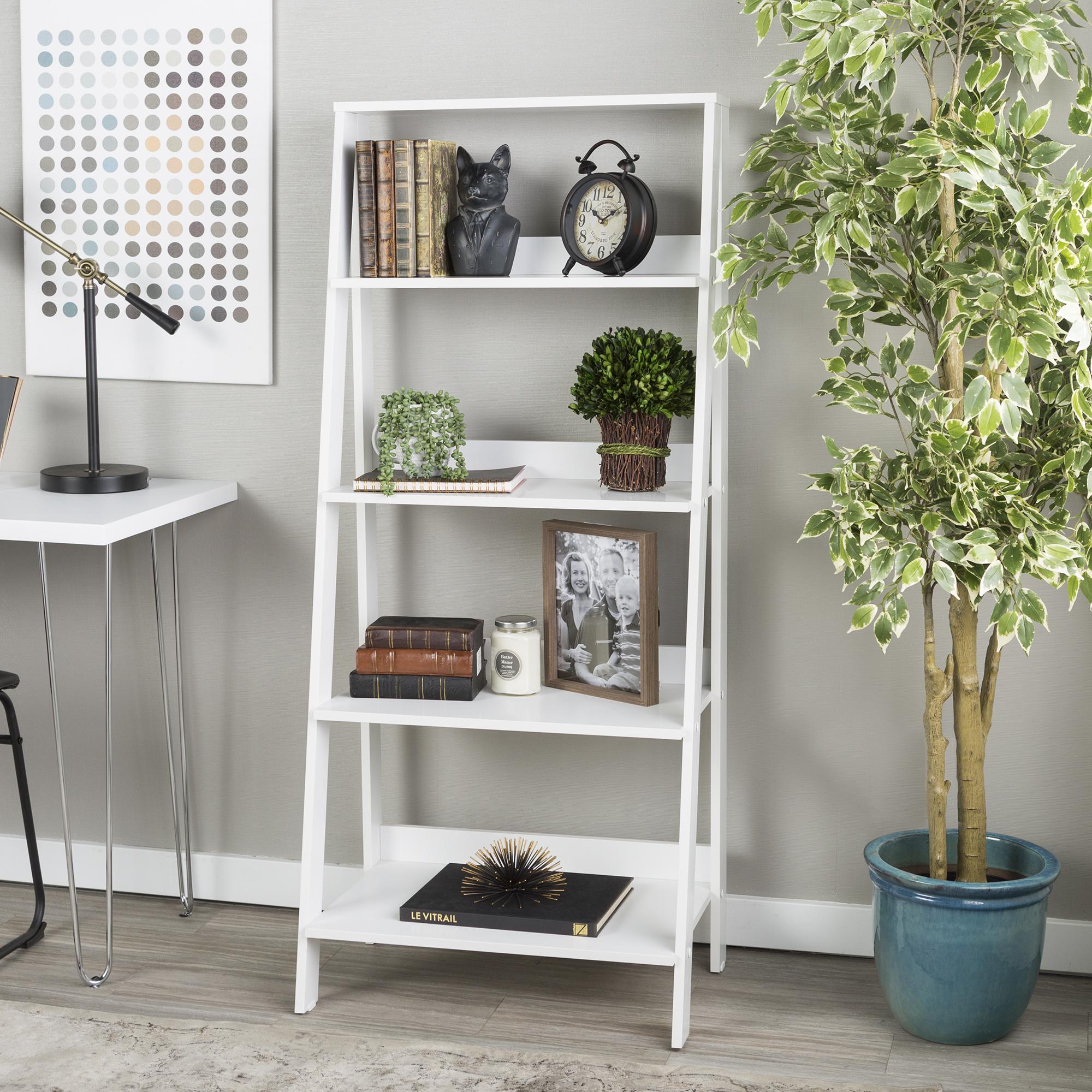 Manor Park 55 in. Wood Ladder Bookshelf - White
