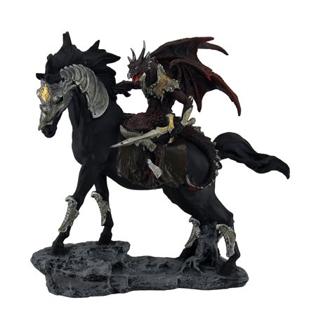 Tarragon Traveler Red Dragon Knight w/Sword On Armored Black Stallion Statue - image 4 of 4