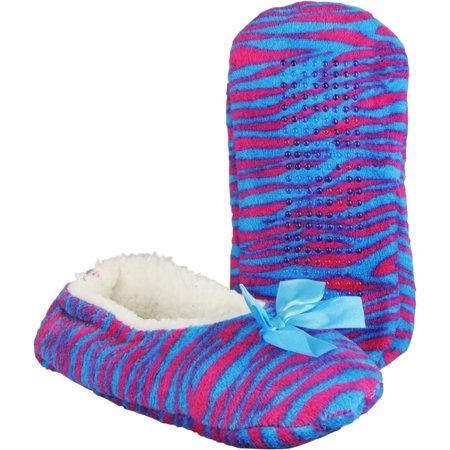 zebra print slippers womens ballet style cozy plush house shoes