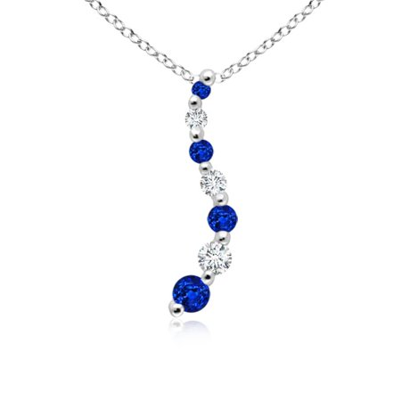September Birthstone Pendant Necklaces - Sapphire and Diamond Curved Journey Pendant in Platinum (3.2mm Blue Sapphire) - SP0112SD_N-PT-AAAA-3.2